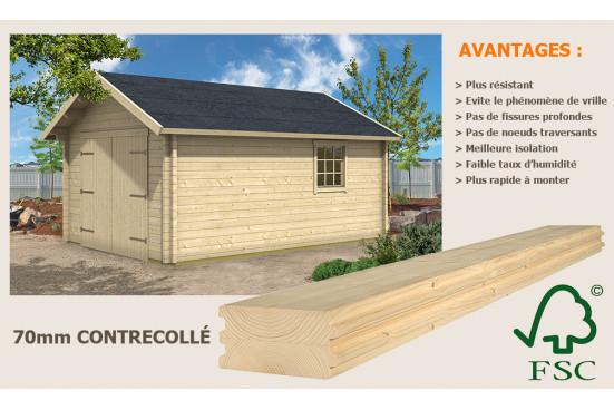 Garage carport en bois SAVOIE 70mm madriers contrecollés