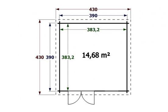 abri de jardin en bois Muret 34mm - 14,68m² intérieur