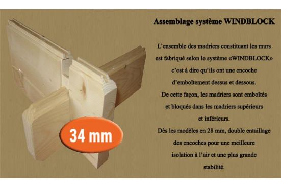 Abris en bois Figeac 34mm - 8.60m² intérieur - toit plat
