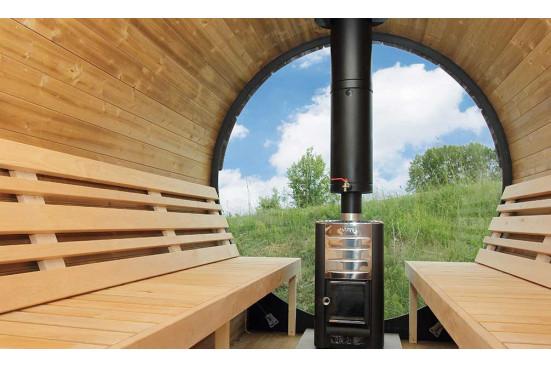 Mur vitré pour tonneau sauna