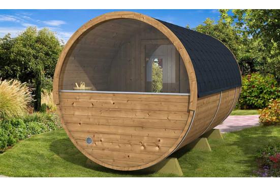 Mur demi-vitré pour tonneau sauna