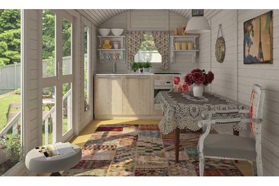 Roulotte jardin bois Keila - 8.2m² intérieur