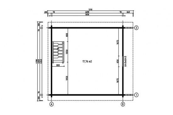 Chalet Mezzanine 20 WC 70mm CC, 18.76m² +étage