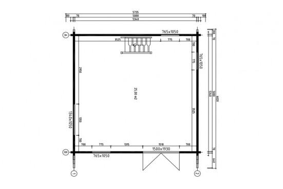 Chalet Mezzanine ANVERS 25 madriers 70mm - 25 + 25m² intérieur