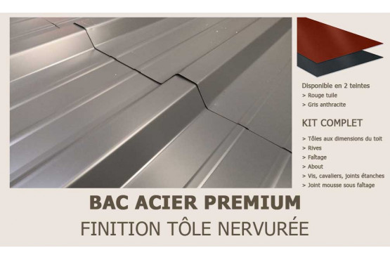 KIT Bac acier plat rouge ou gris anthracite pour Barbados 5
