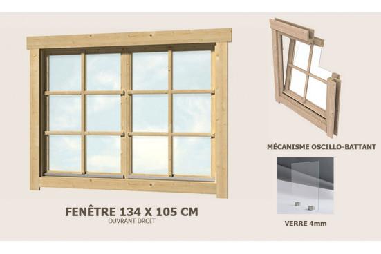 Fenêtre supplémentaire double 134x105 abri 28mm