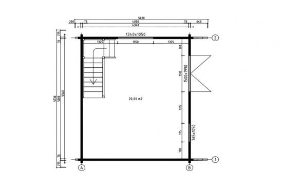 Chalet Narbonne 20 - madriers 70mm contrecollés- 20 + 20m² intérieur