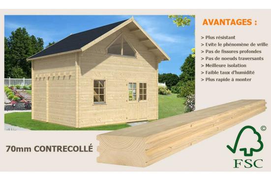 Chalet Narbonne 20 SDB - madriers 70mm contrecollés - 20 + 20m² intérieur