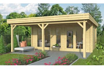 Abri de jardin PELISSANNE 70mm CC - 17.34m² intérieur + 13.05 m²