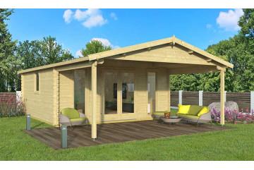 Abri de jardin ARLES 44 mm - 22,2m² intérieur + 12,3m²