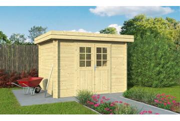 Abri de jardin 28mm, abri bois Rose 7, toit plat, 6.33m² intérieur