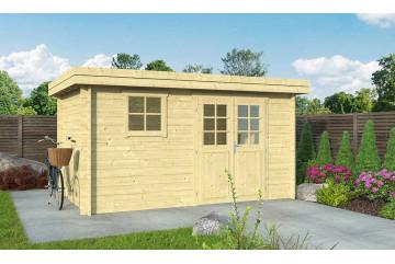 Abri de jardin 28mm, abri bois Rose 9, toit plat, 8.65m² intérieur