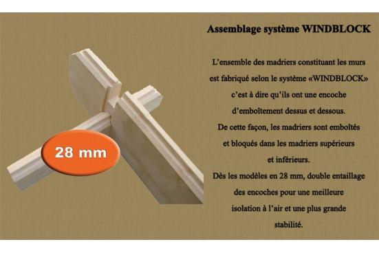 Abri de jardin 28mm, abri bois Rose 11, toit plat, 10.89 m² intérieur