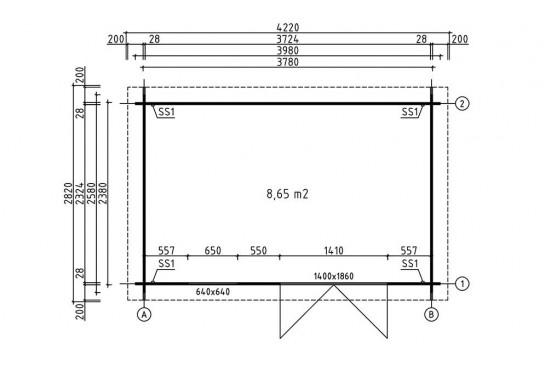 Abri de jardin VIOLETTE 9 28 mm - 8.65m² intérieur
