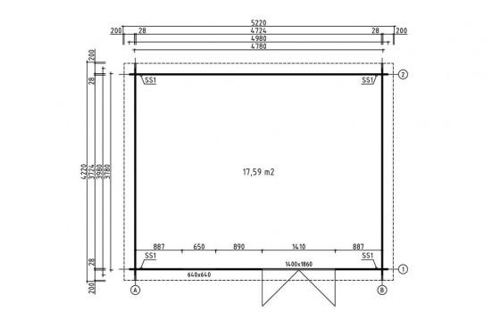 Abri de jardin VIOLETTE 18 28 mm - 17.59 m² intérieur