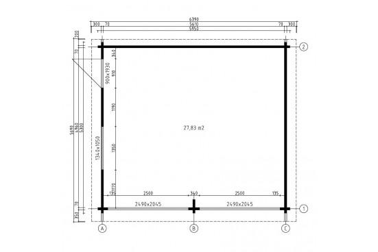 Garage DAX porte sectionnelle 70mm contrecollés - 27.8m² int