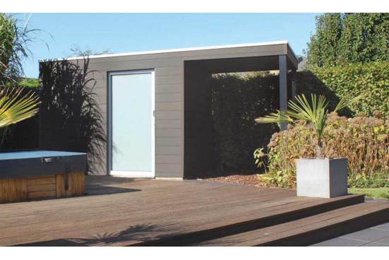 Auvent pour abri Box WPC façade 500cm