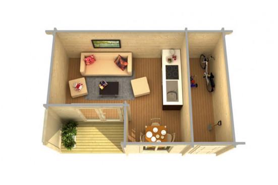 Abri de jardin ORKNEY 2 70mm CC - 19,3m² intérieur