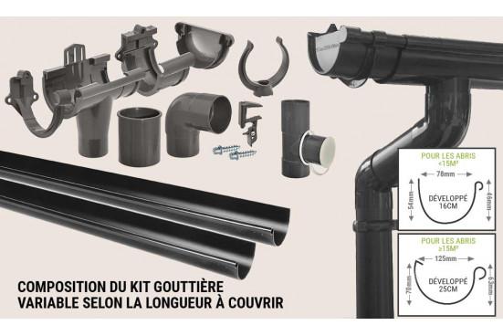 Kit Gouttière PVC toit 2 pentes 300cm maxi
