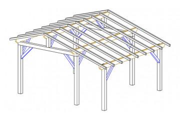 Carport 1 voiture Vincennes 18A - asymétrique - 22.5 m² non couvert