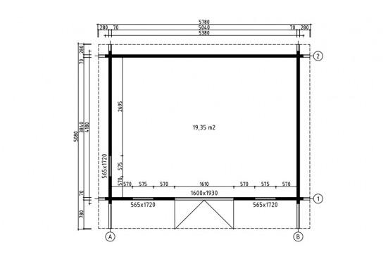 Abri de jardin BARBADOS 5 madriers 70mm - 19,3m² intérieur
