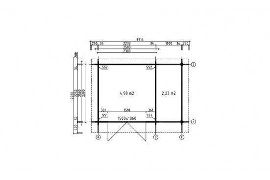 chalet bois toit plat appentis ROCHEFORT 34 mm - 5m² intérieur