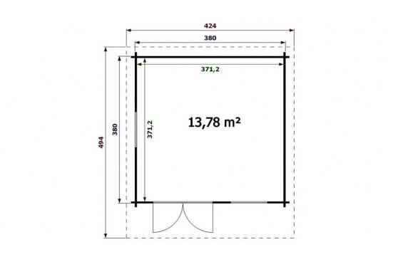 Abri de jardin RAMATUELLE 44 mm sans plancher - 13,78m² intérieur