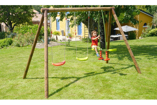Portique pour enfants en bois traité autoclave Pacco - 3 agrès