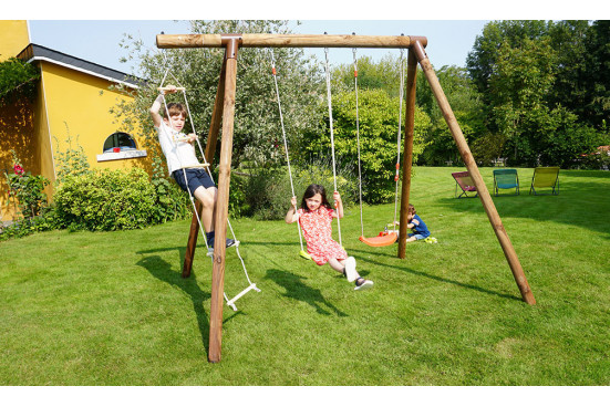 Portique pour enfants en bois traité autoclave Arthur - 3 agrès