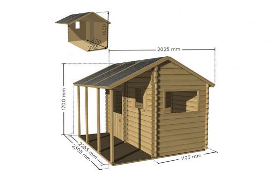 Cabane en bois pour enfant avec pergola Constance - 2.22 m² intérieur