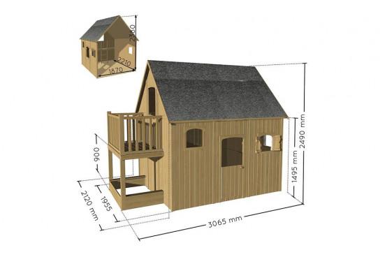 Cabane en bois haute pour enfant Duplex - 4,13 m² intérieur