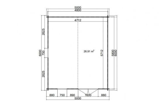 Abri de jardin EDMONTON 2 44 mm - 26.91m² intérieur