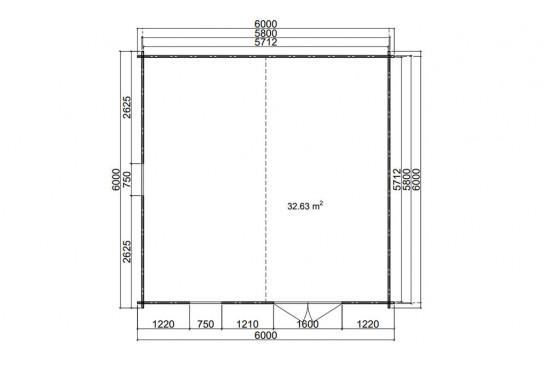 Abri de jardin EDMONTON 3 44 mm - 32.63m² intérieur