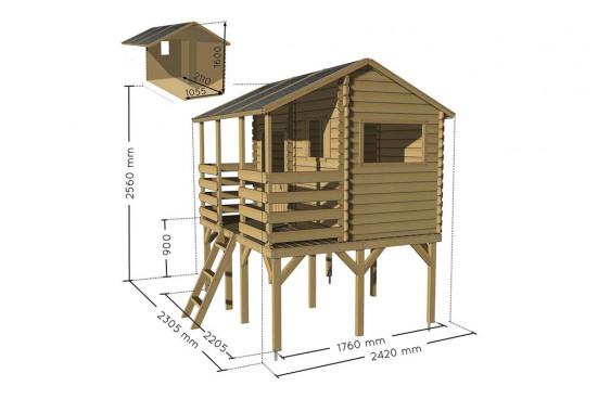 Cabane en bois pour enfants sur pilotis Manon - 2,22 m² intérieur