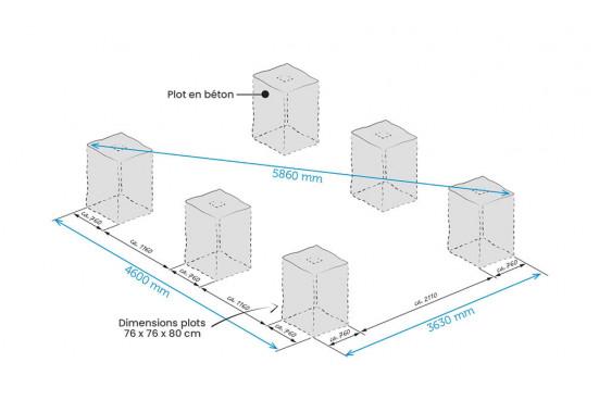 Carport Algajola KH301 anthracite toit plat 3.4x5.02m lamellé-collé