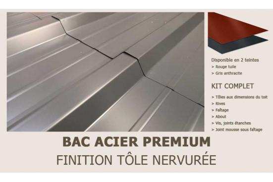 KIT Bac acier plat rouge ou gris anthracite pour carport Reims