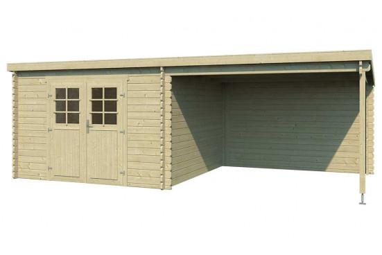 Abri de jardin Elody 28mm - 8,20m² intérieur + préau 8.20m²