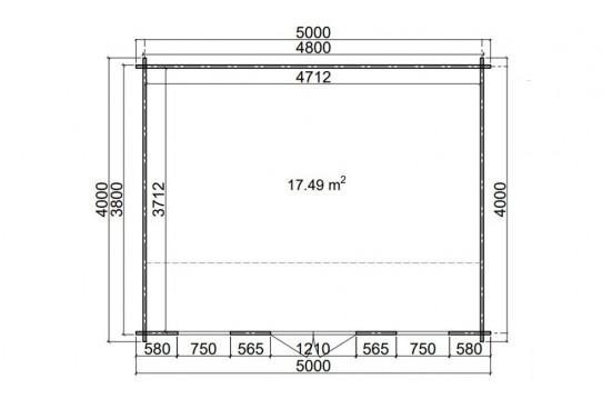 Abri de jardin MISSISSIPPI 3- 44 mm - 17.49m² intérieur