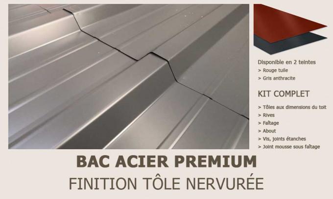 KIT Bac acier plat rouge ou gris anthracite pour Bret 2 - 19.9m²