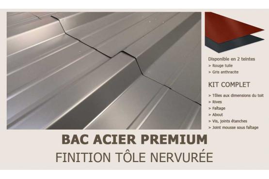 KIT Bac acier plat rouge ou gris anthracite pour abri Bret 1