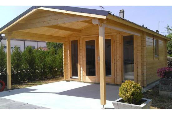 Abri de jardin ANGERS 44 mm - 12,3m² intérieur + 10,1m²
