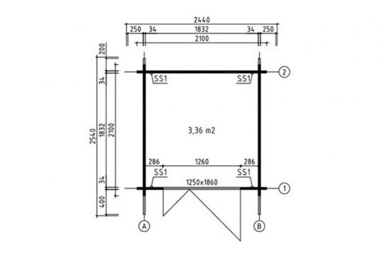 Abri de jardin ARDENNES 34 mm - 3,4m² intérieur - double pente - Petit prix