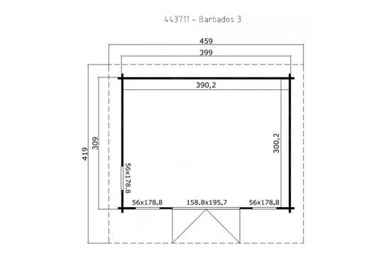 Abri de jardin BARBADOS 3 44mm - 11,7m² intérieur