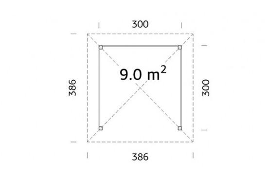 Tonnelle Pavillon - 300 x 300 - 9m² intérieur