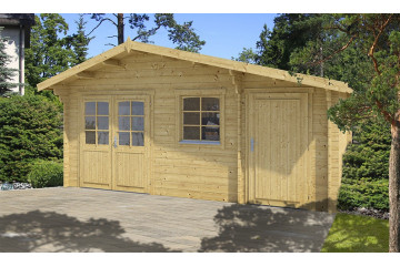 Abri de jardin DOUBLE PENTE,madriers 34 mm-16.30 m²-370 x 505 cm