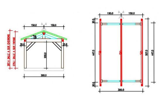 garage voiture bois Quiberon symétrique - 17,8m² couvert