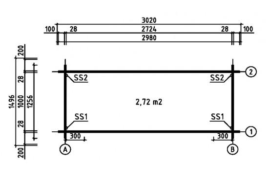 chalets en bois 28mm - 2,72m² intérieur