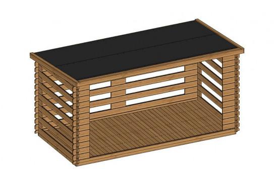Grand bûcher bois 28mm - 7,6m² intérieur