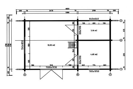 Abri de jardin Bergerac 70mm - 21 + 7,9 m² intérieur