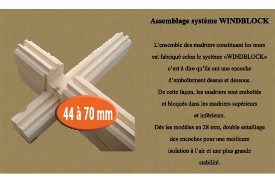 Abri de jardin ARCACHON 44 mm - 8,5m²